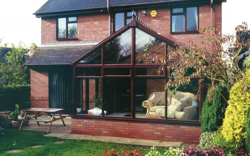 Brown gable front conservatory