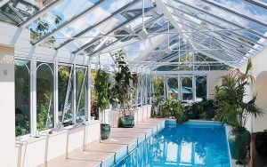 Glass extension housing indoor pool