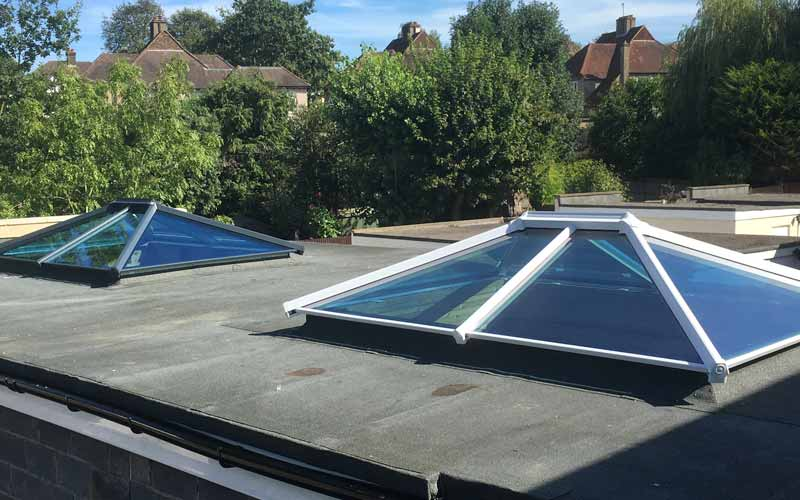 Double glass roof lantern installation