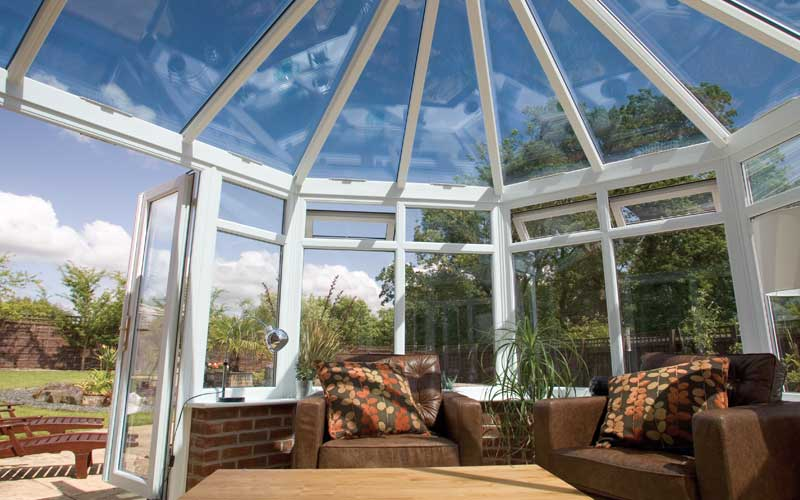 uPVC double glazed conservatory with glass roof, view from interior